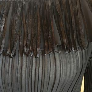 Komarov Tops - Komarov pleated accordion crinkle fringe blouse